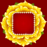 Vector yellow Rose circle frame Stock Photo