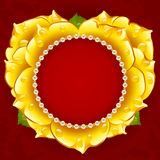 Vector yellow Rose heart frame with pearl necklace Stock Images