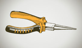 Vector yellow round pliers Stock Images