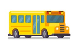 Vector yellow school bus on white background. Vector flat Royalty Free Stock Photos
