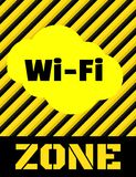 Vector yellow sign with black stripes and the words Wi fi zone.  Stock Images