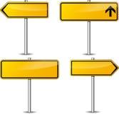 Vector yellow signpost set Stock Photos