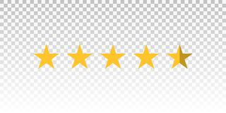 Vector yellow star rating bar isolated on transparent background. Element for design your website or app.  royalty free illustration