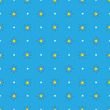 Vector yellow stars with rays seamless pattern Stock Images
