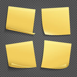 Vector yellow sticky notes  on transparent background Stock Images