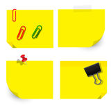 Vector of yellow sticky notice papers on white background Stock Photo