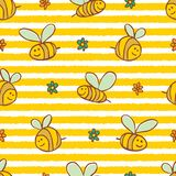 Vector yellow stripes cute bees and flowers repeat pattern. Suitable for gift wrap, textile and wallpaper royalty free illustration