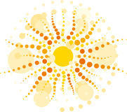 Sun with rays ​​from circles. Vector yellow sun with rays made ​​from circles Stock Photography