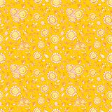 Vector yellow sunflowers and bees repeat pattern texture with orange outlines. Suitable for gift wrap, textile and wallpaper stock illustration