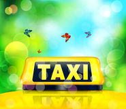 Vector yellow taxi sign on the car on a blue- green background Royalty Free Stock Photography