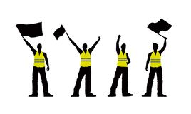 Vector yellow vest protestors illustration stock illustration