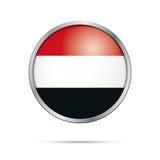 Vector Yemenite flag Button. Yemen flag in glass button style. Royalty Free Stock Photo