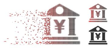 Dissipated Pixel Halftone Yen Bank Building Icon. Vector yen bank building icon in sparkle, pixelated halftone and undamaged solid variants. Disintegration Royalty Free Stock Photos