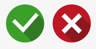 Vector Yes and No check marks on circles. Yes and No check marks on circles Royalty Free Stock Photography