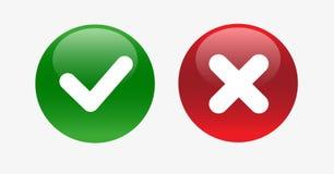 Vector Yes and No check marks on circles. stock image