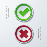 Vector yes or no circle icons. Royalty Free Stock Photos