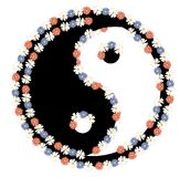 Vector yin yang with flowers ornament stock photos