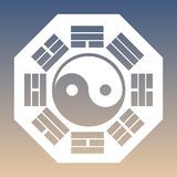 Vector Yin and Yang Symbol and Eight Trigrams on a Gradient Background Stock Images