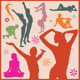 Vector yoga asana silhouettes Royalty Free Stock Photos