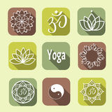 Vector yoga icons Royalty Free Stock Image