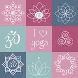 Vector yoga icons Royalty Free Stock Images