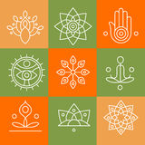 Vector yoga icons and line badges, graphic design. Elements or logo templates for spa center or yoga studio Royalty Free Stock Photo