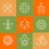 Vector yoga icons and line badges, graphic design Royalty Free Stock Photography