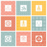 Vector yoga icons and line badges, graphic design Royalty Free Stock Image