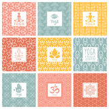 Vector yoga icons and line badges, graphic design Royalty Free Stock Photo