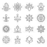 Vector yoga icons and line badges, graphic design elements Stock Photography