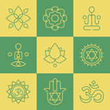 Vector yoga icons and line badges, graphic design elements Royalty Free Stock Photo