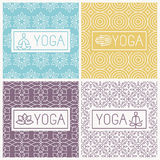Vector yoga icons and line badges. Graphic design elements in outline style or logo templates for spa center or yoga studios Stock Photos