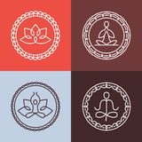 Vector yoga icons and round line badges Royalty Free Stock Photography
