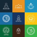 Vector yoga icons & round line badges - graphic design elements Royalty Free Stock Image