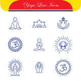 Vector yoga icons & round line badges - graphic design elements Stock Images