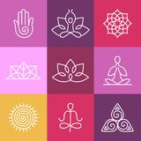 Vector yoga icons and round line signs. Vector yoga icons and round line badges - graphic design elements in outline style  or logo templates for spa center or Stock Photo