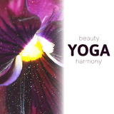 Vector yoga illustration. Blurred photo background. EPS,JPG. Vector yoga illustration. Name of yoga studio on a floral background. Yoga class motto. Yoga Stock Photos