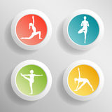 Vector yoga illustration. Circle buttons with girls silhouette. Stock Images