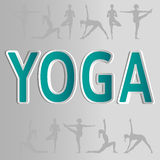 Vector yoga illustration. EPS,JPG. Inscription Yoga. Vector yoga illustration. Name of yoga studio in white and green colors. Prominent letters with shadows Royalty Free Stock Images