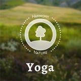 Vector yoga illustration.  EPS,JPG. Vector yoga illustration. Name of yoga studio on a nature background. Yoga class motto. Yoga sticker. Yoga exercises Stock Photo