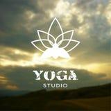 Vector yoga illustration.  EPS,JPG. Vector yoga illustration. Name of yoga studio on a nature background. Yoga class motto. Yoga sticker. Yoga exercises Stock Images