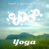 Vector yoga illustration. EPS,JPG. Vector yoga illustration. Name of yoga studio on a nature background. Yoga class motto. Yoga sticker. Yoga exercises Royalty Free Stock Photo
