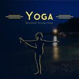 Vector yoga illustration.  EPS,JPG. Vector yoga illustration. Name of yoga studio on a night sea background. Yoga class motto. Yoga sticker. Yoga exercises Stock Images