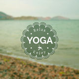 Vector yoga illustration. Name of yoga studio on a blurred photo background. Yoga class motto. Yoga sticker with a sea background. Yoga exercises, healthy Royalty Free Stock Photography