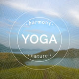 Vector yoga illustration. Name of yoga studio on a blurred sea background. Royalty Free Stock Image