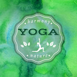 Vector yoga illustration. Name of yoga studio on a green watercolors background. Yoga class motto. Yoga sticker with a girl. Yoga exercises, recreation Royalty Free Stock Image
