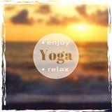 Vector yoga illustration. Name of yoga studio on a sunset background. Yoga class motto. Yoga sticker. Vector yoga. Yoga exercises, recreation, healthy Royalty Free Stock Photo