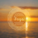 Vector yoga illustration. Name of yoga studio on a sunset background. Yoga class motto. Yoga sticker. Vector yoga. Poster for yoga class with a sea view Royalty Free Stock Photography