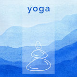 Vector yoga illustration. Poster for yoga class with a nature backdrop. Stock Image