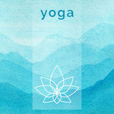 Vector yoga illustration. Poster for yoga class with a nature backdrop. stock illustration